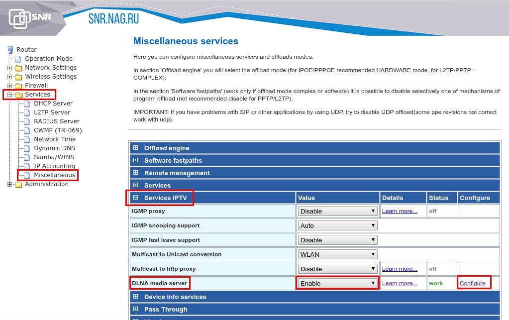 Настройка сервисов iptv в wi-fi роутере с ПО wive-ng
