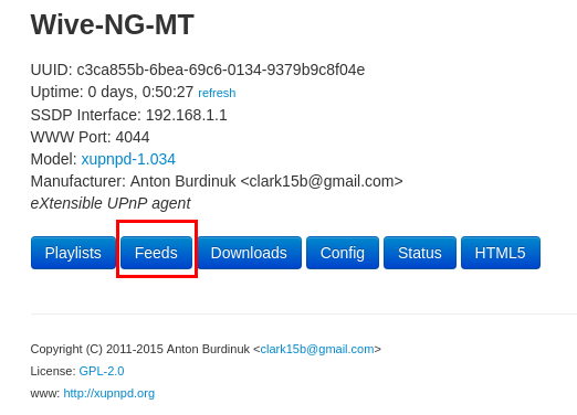 Раздел feeds в web gui dlna сервера xupnpd