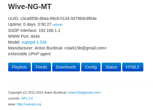 web gui встроенного dlna - сервера xupnpd