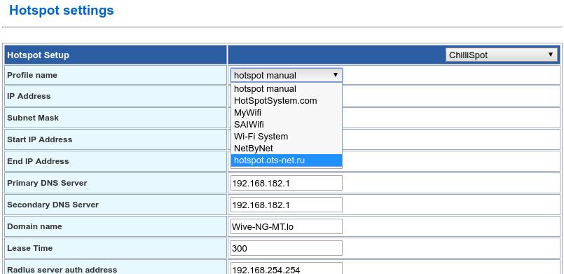 Профили сервисов Hotspot, доступные для быстрой настройки