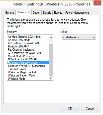 Настройка агрессивности роуминга у Intel