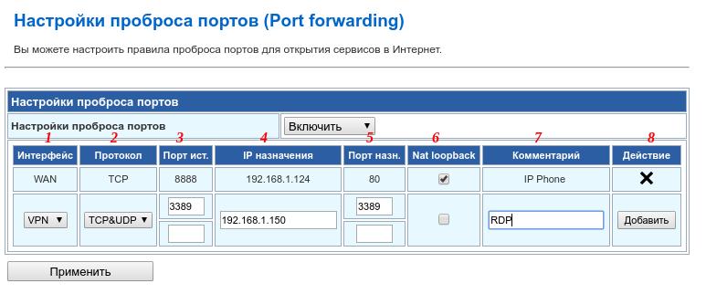 настройка проброса портов / port forwarding на роутере
